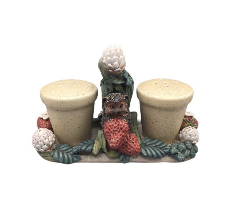 Vintage Bramble & Clover Hedgehog Strawberry Salt And Pepper Shakers With Holder