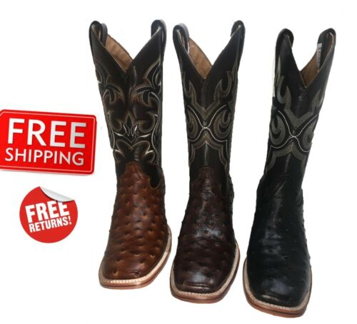 Mens, Cowboy, Boots, Ostrich, Print, Leather, Western, Rodeo, Square, Toe, Boots