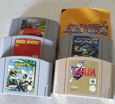 Zelda Ocarina of Time n64; Jet Force Gemini; Mission Impossible; Turok 64;...
