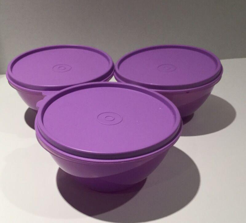 Tupperware Set of 3 Wonderlier Sheer Purple Bowl with Purple Lid #233 New