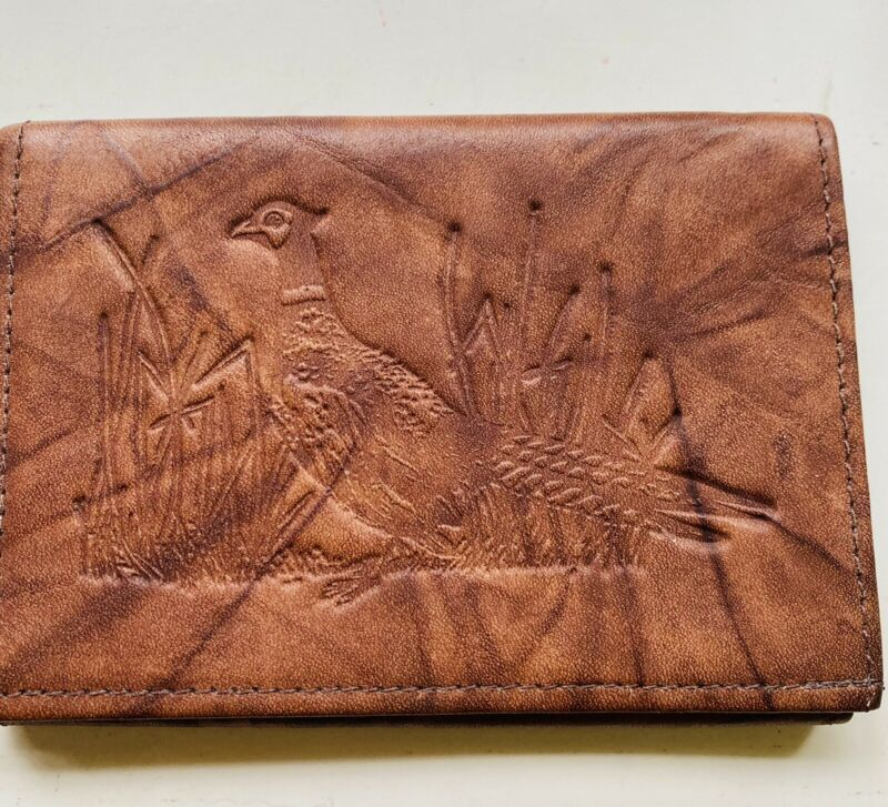 VINTAGE BROWN RICO GENUINE LEATHER TRIFOLD WALLET PHEASANT / SIGNED