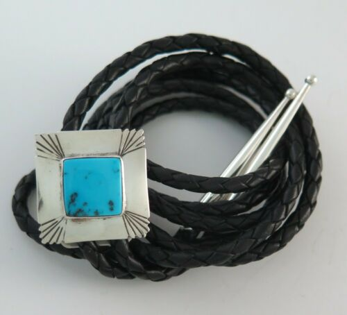 Square Southwestern Sterling Silver and Turquoise Bolo Tie
