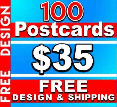 100 Custom Full Color 2 sided 4x6 Postcards UV Glossy - Free Design +  Shipping