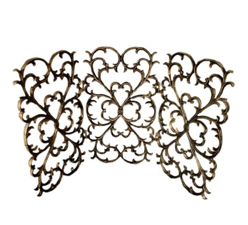 Vintage Wrought Iron Ornate Fireplace Screen