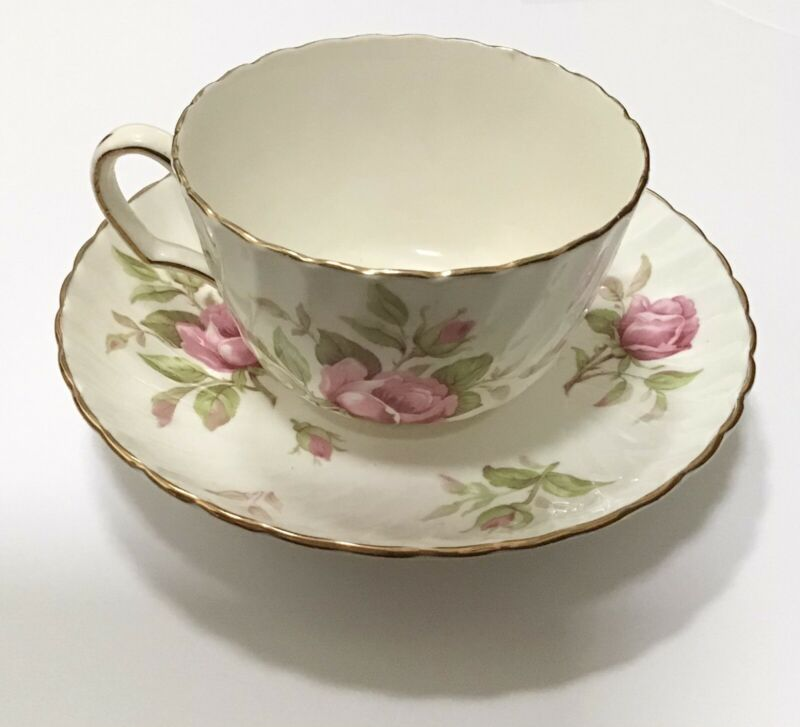 Adderley Fine Bone China Tea Cup & Saucer Pink Blossom Rose Flower Gold Trim