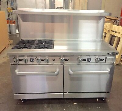 4 Burner Gas Range 36 Griddle 2 Full Double Size Standard Ovens 60 Restaurant