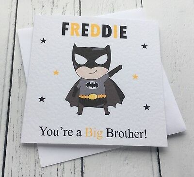 Personalised Batman Style You're A Big Brother! New Baby Sibling card (Batman Big Brother)