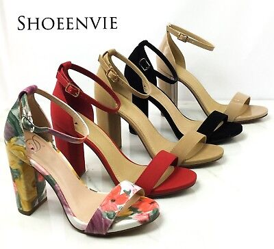 New Women Shiner Open Toe Ankle Strap Single Band Chunky Heel Dress Sandal