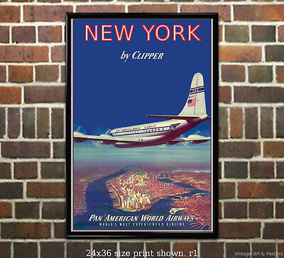 Pan Am Clipper Airline (Pan Am New York Clipper Airline Travel Poster [6 sizes, matte+glossy available] )