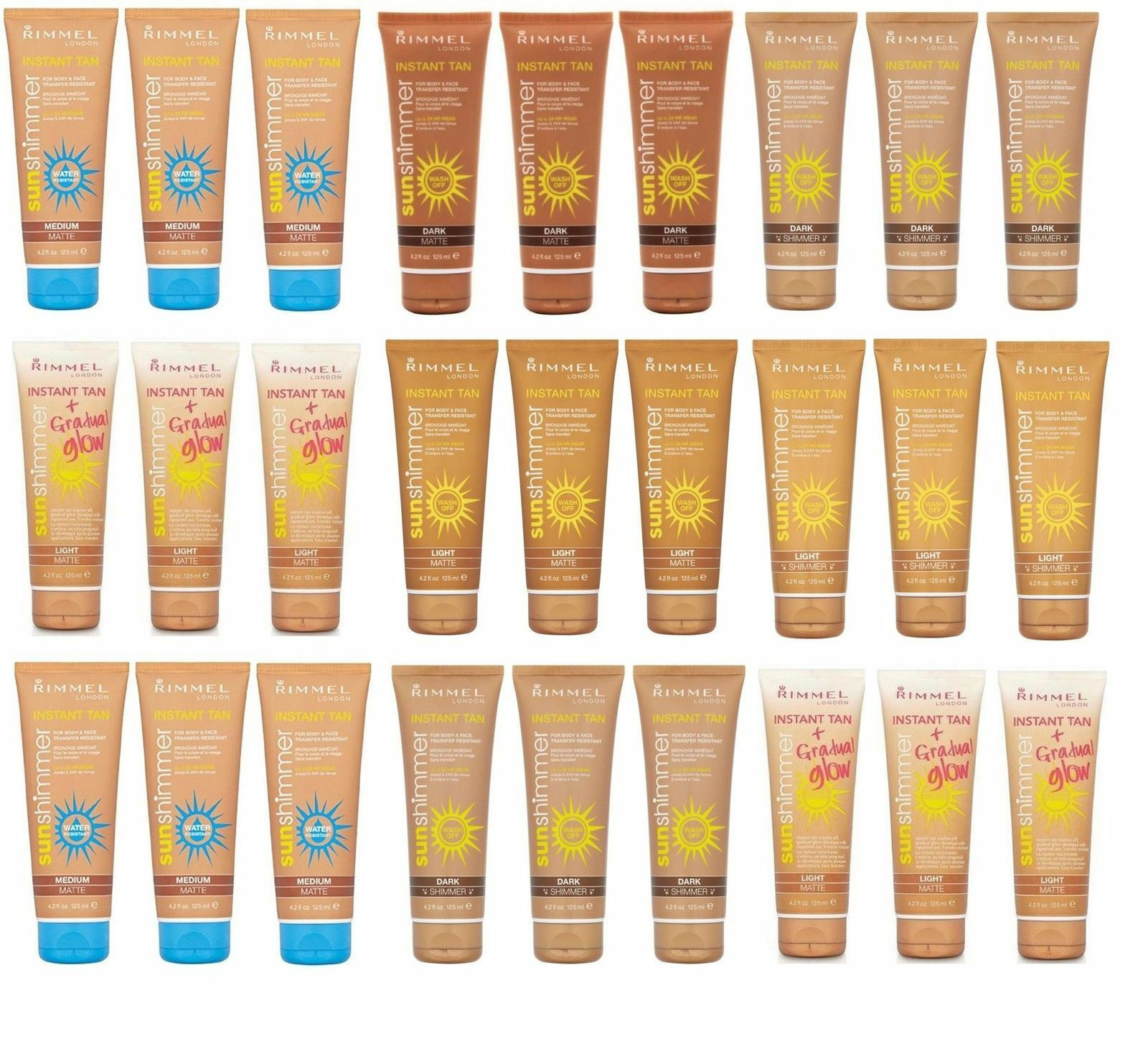 RIMMEL LONDON INSTANT TAN RANGE FOR FACE AND BODY WASH OFF 125ML