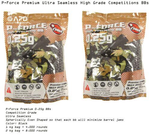 2 x P-Force Premium Precision Seamless  1 kg bag 0.25g BBs Black Airsoft bb .25
