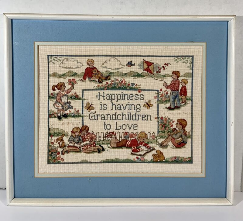 Vintage Cross Stitch Happiness Is Grandchildren To Love Completed 19x16