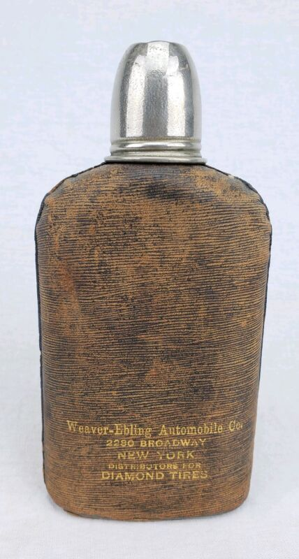 RARE Antique Bottle Early Automobile Related Liquor Whiskey Flask