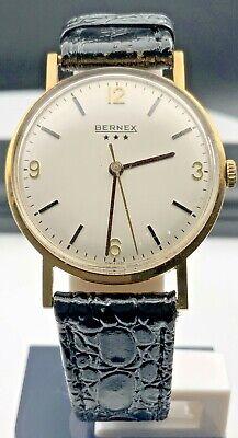 BERNEX 9CT .375 GOLD 17J MENS WATCH ETA 2750 MOVEMENT VGC