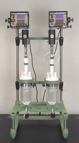 Chemglass Dual Vessel 1L Jacketed Glass Bio Reactor + Optichem Overhead Stirrers