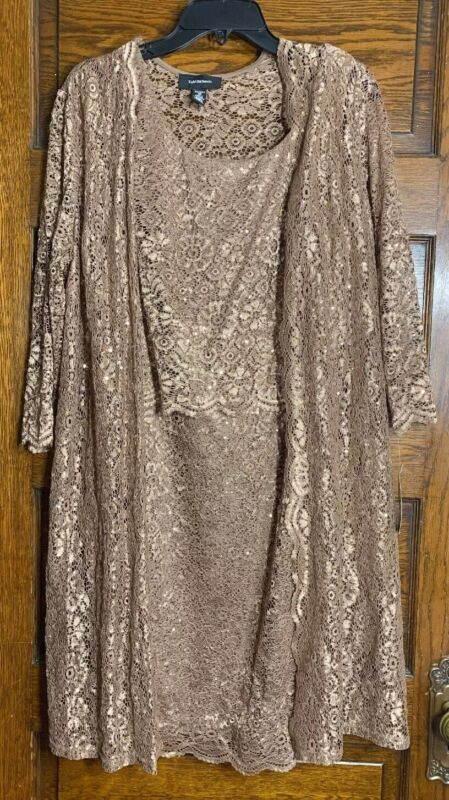 R&M Richards Womens 2 Piece Dress & Jacket Size 10 Cocoa With Sequins NWT
