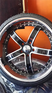 """^^* BEAUTIFUL 20"""" DEEP DISH 5x120 RIMS WITH NEW 225/30/20 TIRES"""
