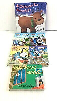 Board Books Lot Thomas the Train, Goodnight Moon, Christmas (Lot of 6)