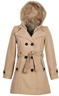 Abrigo Lana Mujer Capucha Desmontable Cuello Sastre Fabricación Italia T. 42 (L)