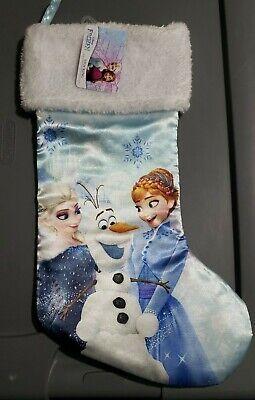 """New DISNEY FROZEN Satin CHRISTMAS STOCKING Plush White Top 18"""" Elsa, Anna & Olaf"""