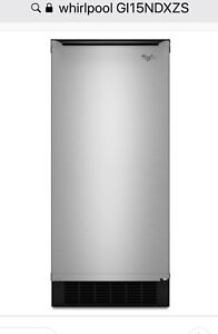 "Whirlpool 15"" undercounter ice maker with stainless steel front"