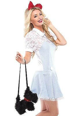 Womens Dorothy Costume Toto Puppy Dog Purse Sexy Fancy Dress Blue Gingham Adult