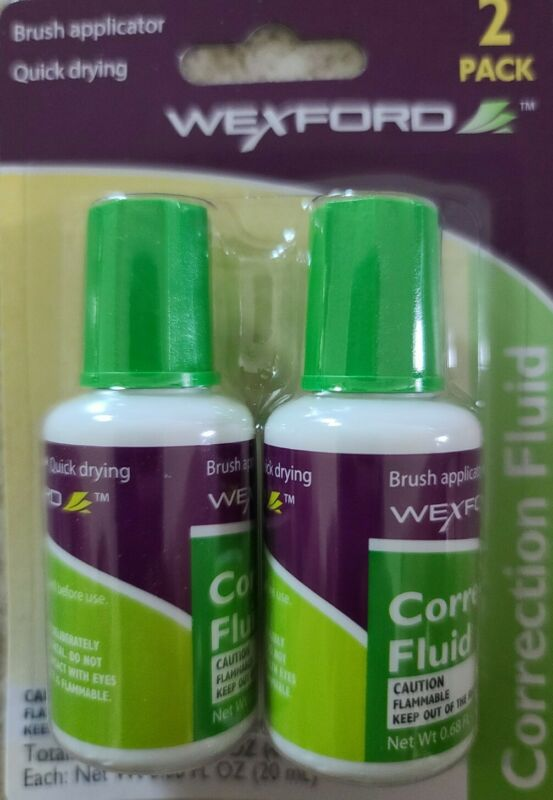 Wexford Correction Fluid Liquid Dries Quickly New Brush Applicator Packs of 2.