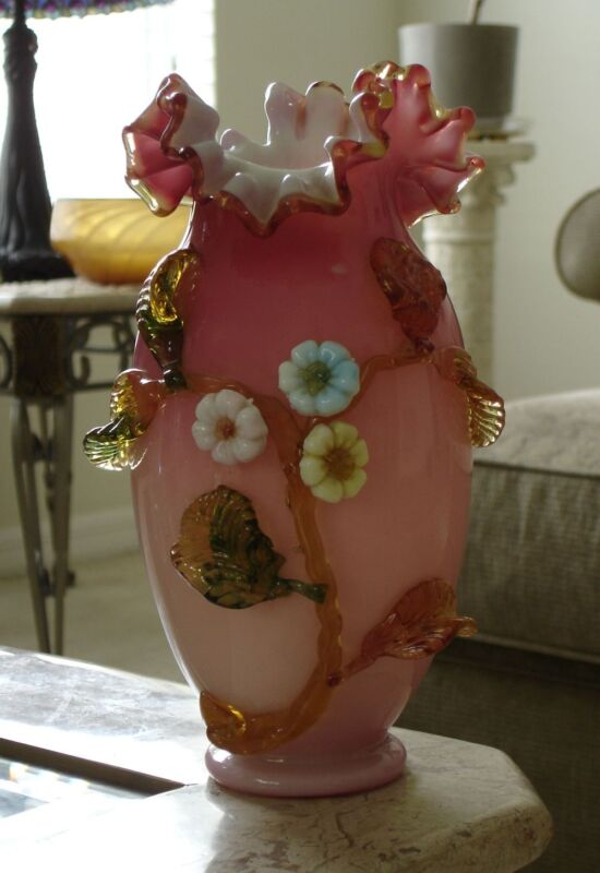 Hodgetts, Richardson & Son Art Glass Ruby Overlay Decorated Vase.
