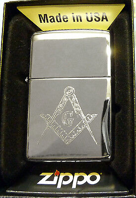 Polished Chrome Zippo Lighter with Masonic Logo - With Free Engraving