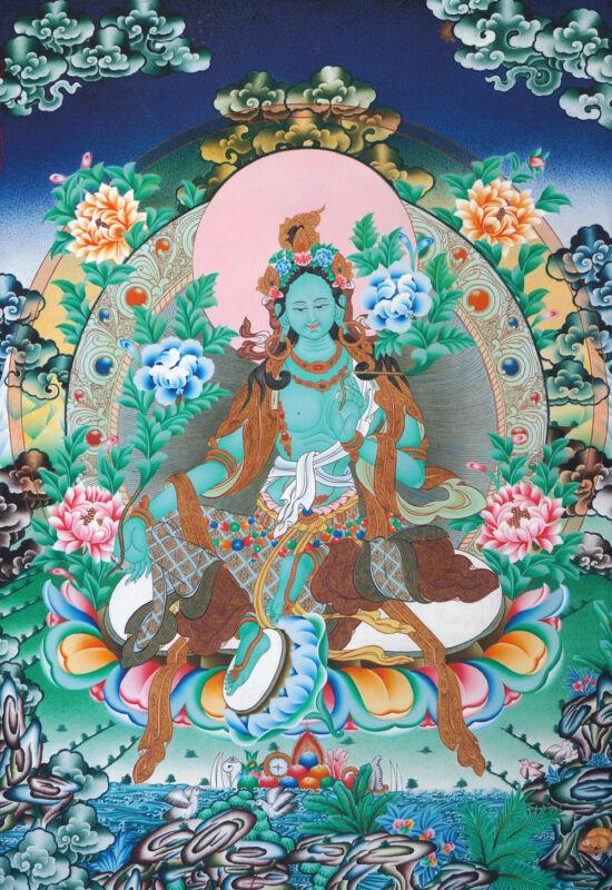 "32"" BLESSED BROCADE WOOD SCROLL TIBETAN THANGKA: GREEN TARA IN FAIRY WATERLAND ="