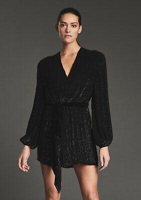 Retrofete Gabrielle Sequin Robe Dress XL Black NWT