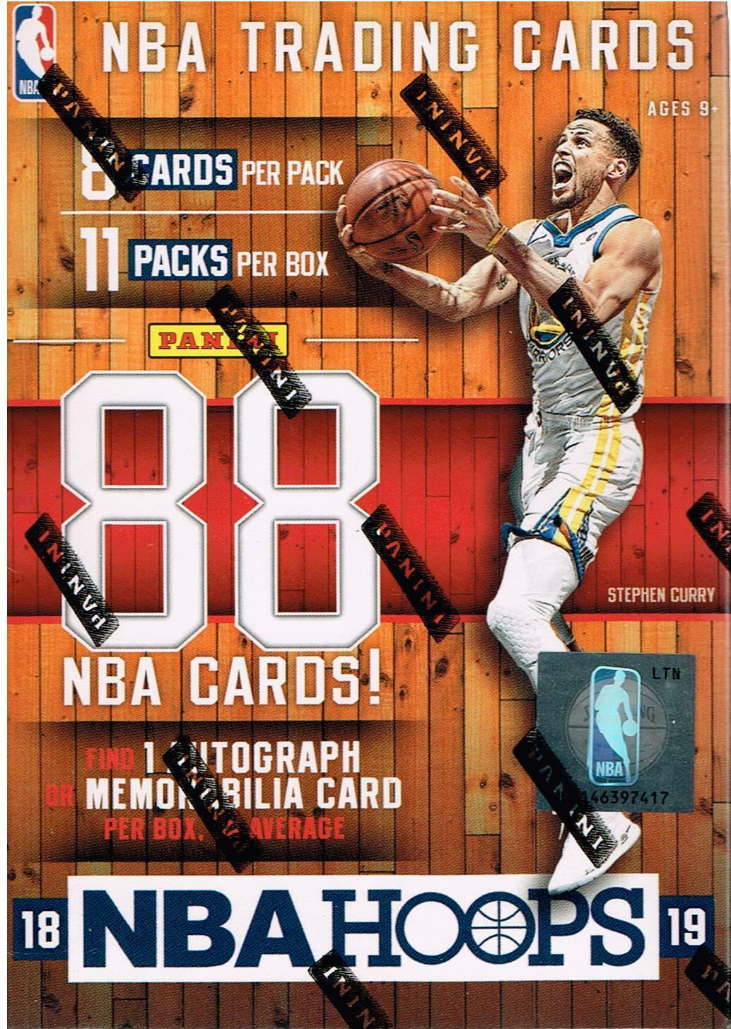 2018-19 Panini HOOPS Basketball NBA Trading Cards 88ct BLASTER Box=1 Auto/Mem OA