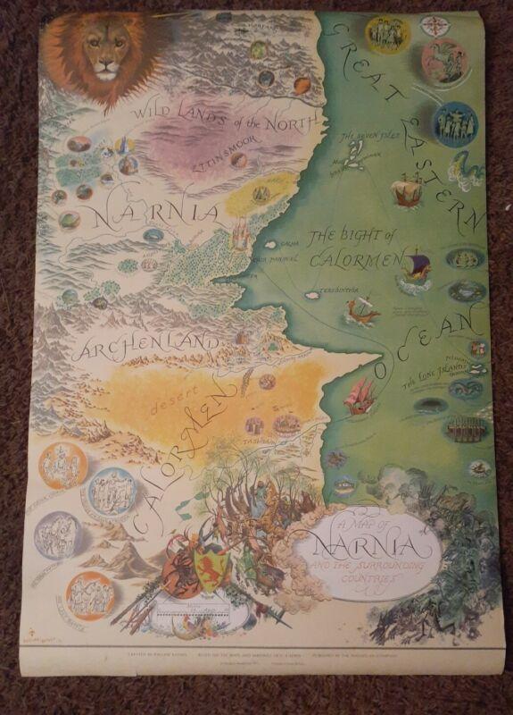 Vintage MAP OF NARNIA Pauline Bayne Penguin Books Ltd 1972 Poster