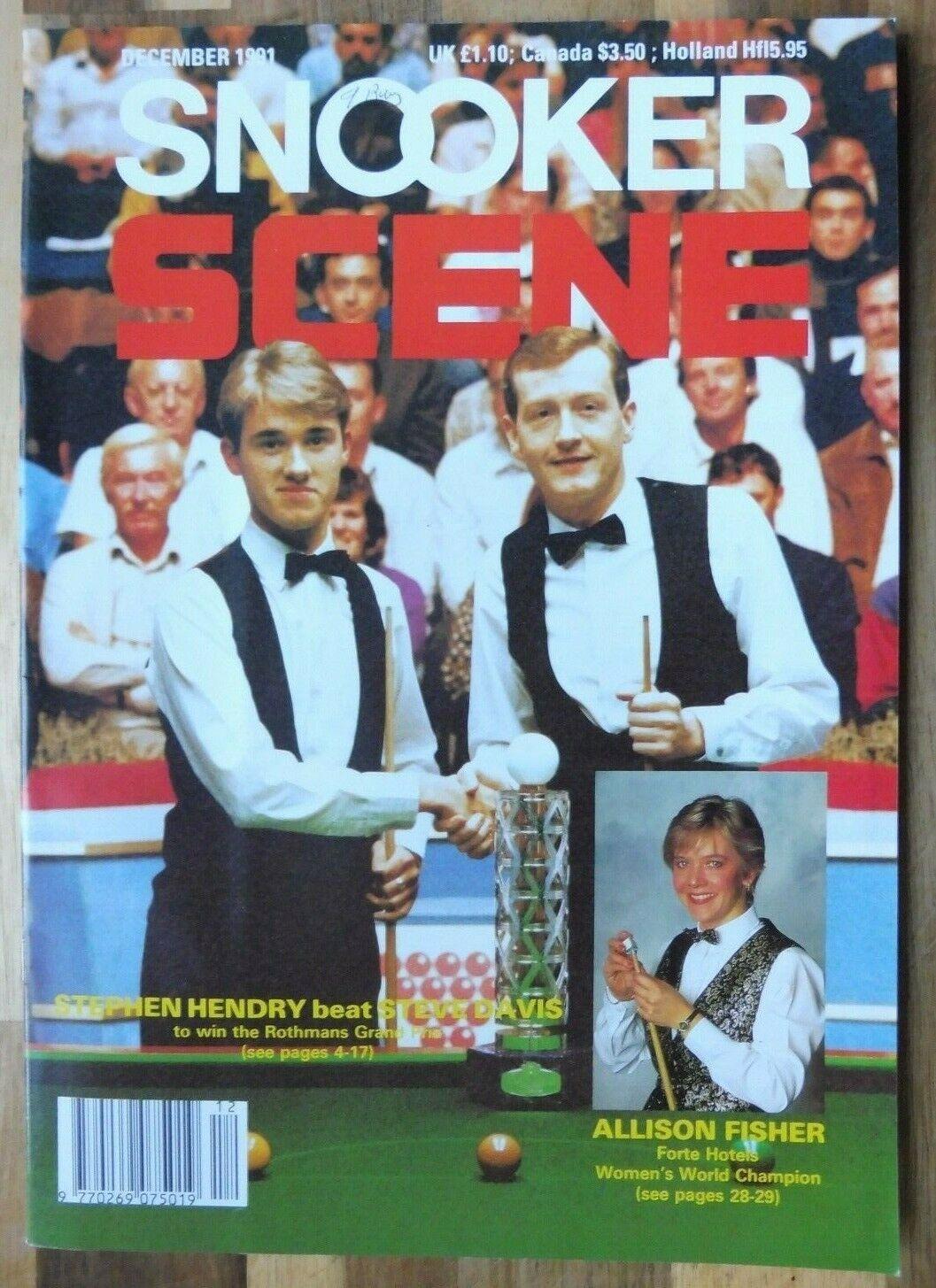 Snooker Scene Magazine, December 1991, Good Condition.