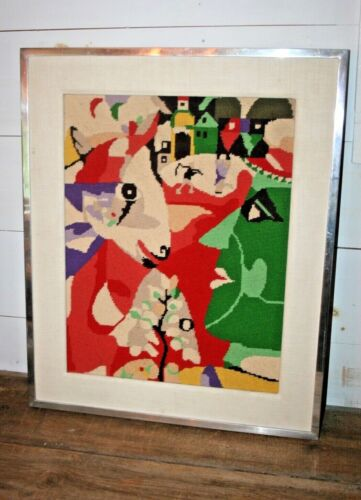 Chagall Abstract Framed Vintage Mid Century Modern Wall Art Needlepoint Textile