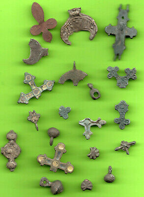 Lot 20 Ancient Viking Enamel Bronze Cross Kiev Russia Ukraine 1100 Byzantine 76
