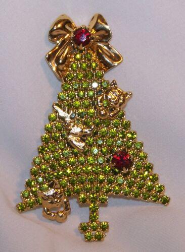 Vintage Attruia Kitty Cat Reindeer Rhinestone Christmas Tree Brooch-Signed