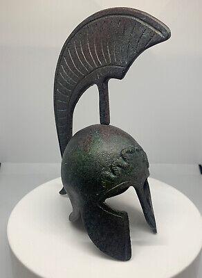 Corinthian Small Bronze Helmet With Snake Design