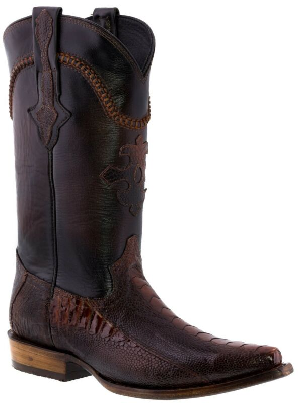 Mens, Rust, Cognac, Real, Ostrich, Foot, Exotic, Skin, Leather, Cowboy, Boots, Snip, Toe
