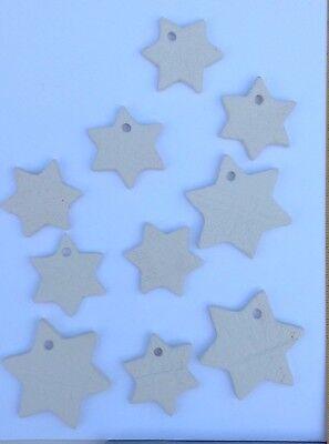 10 Sterne getöpfert Keramik Mobile Baumschmuck Dekoration  Anhänger