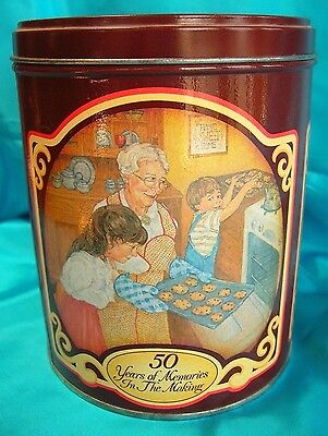 Tall Vintage Advertising Tin,Nestle Toll House Morsels 50 Years 1939-1989
