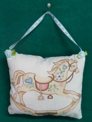 Handmade Fabric NURSERY DOOR KNOB HANGER Rocking Horse w/Blue Ribbon Hanger