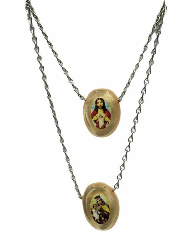 Catholic Scapular Necklace Mt Carmel Medal and Sacred Heart Of Jesus Oval Medal