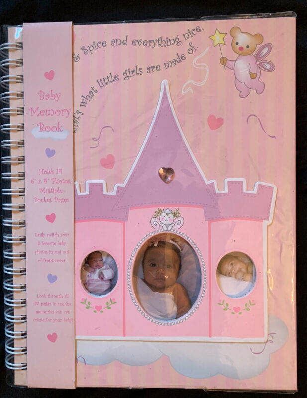 "Baby Girl Memory Keepsake Book Sugar & Spice Princess, Pocket, Frame Pages 11"""