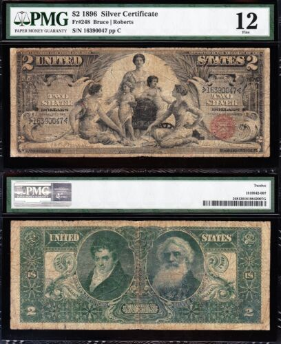 VERY NICE Fine 1896 $2 EDUCATIONAL Silver Cert! PMG 12! FREE SHIPPING! 16930047