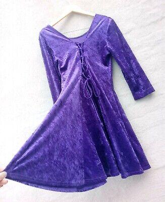 Vtg 80s Purple Velvet Lace Up Back Flare Dress Sz M Goth - 80s Purple