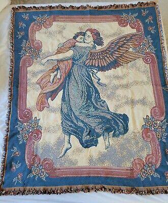 American Weavers Woven Throw Blanket Guardian Angel Holding Child Fringe Afghan