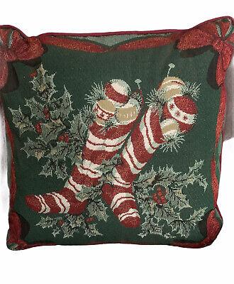 "Martha Stewart Decorative Christmas Pillow 16"" Stocking Design Red Green Accent"