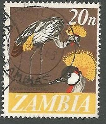 Zambia Scott# 46, Crowned Cranes, Bronze & Multi-colored, Used, 1968