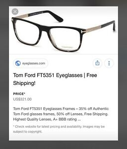 TOM FORD GLASSES (UNISEX)